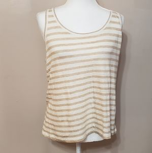 J Crew linen crew neck striped tank top